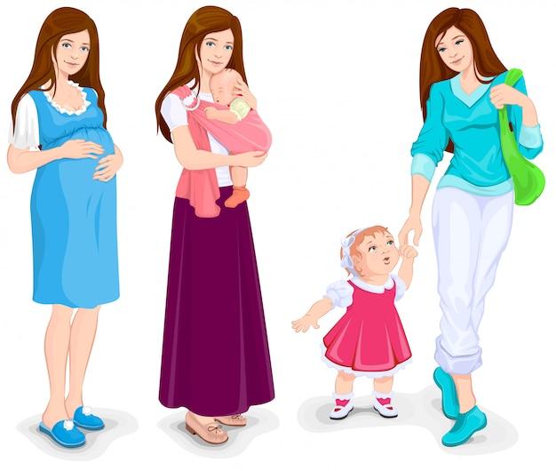 若い妊婦。母と幼児ウォーキング Premiumベクター