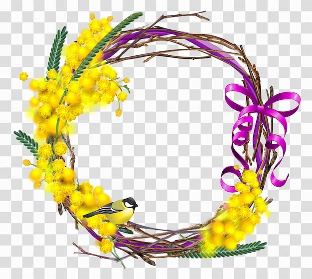 Желтая мимоза цветочная ветка с венком с красной лентой лука. Premium векторы