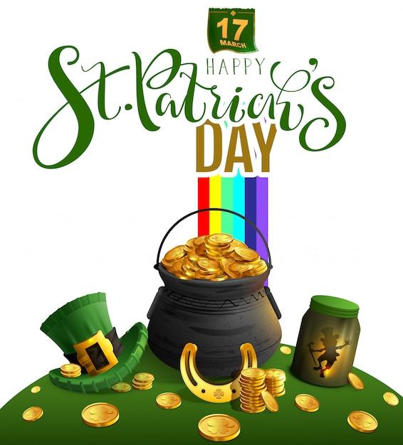 ハッピー聖パトリックの日グリーティングカード。金、虹、レプラコーン、黄金の蹄鉄、緑の帽子のテキストと休日のアクセサリー大釜 Premiumベクター