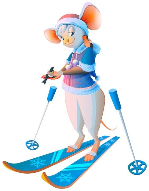 かわいい漫画マウス女性スキーキャラクター Premiumベクター