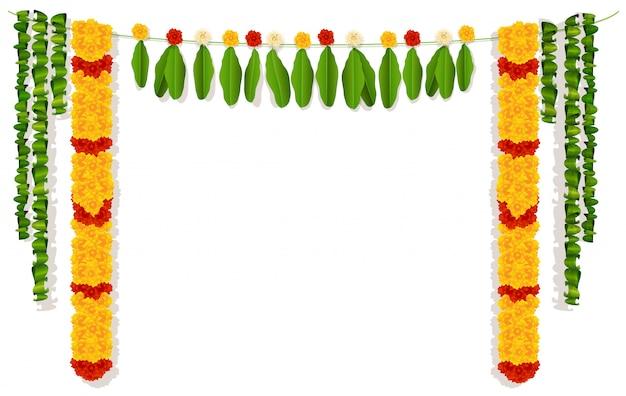 Индийская гирлянда из цветов и листьев. Premium векторы