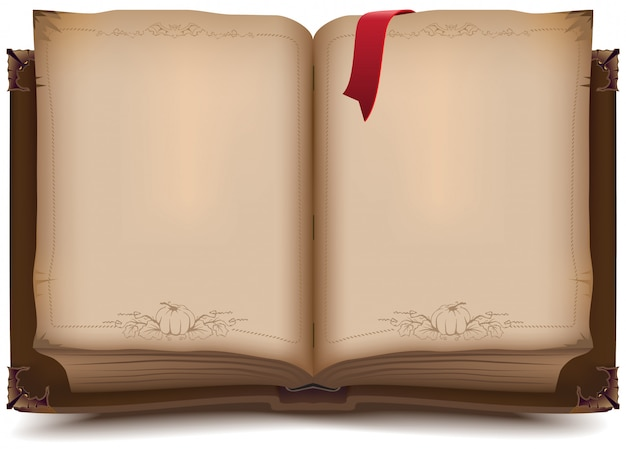 Старая открытая книга на хэллоуин Premium векторы