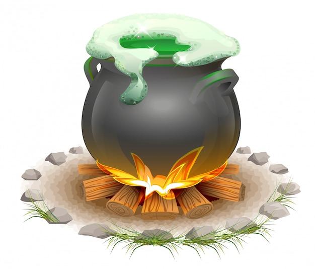 Волшебное зелье, сваренное в кастрюле. волшебный эль день святого патрика. полный горшок в огне Premium векторы