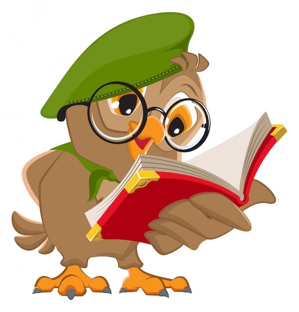 Сова читает книгу разведчик Premium векторы