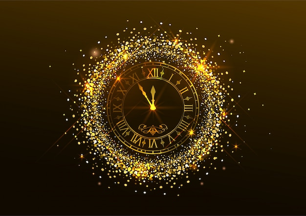 真夜中の新年。暗闇のローマ数字と金の紙吹雪と時計 Premiumベクター