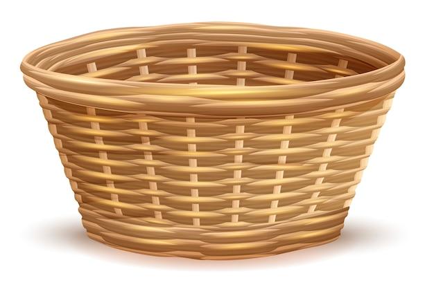 Пустая плетеная корзина без ручек Premium векторы
