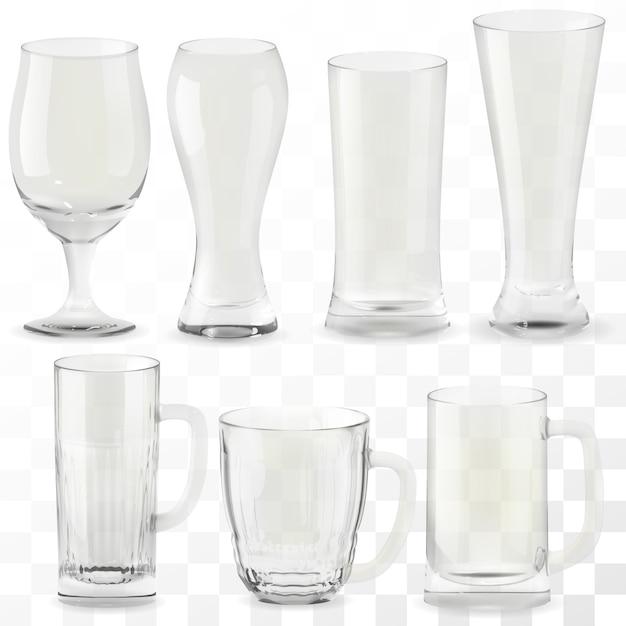 現実的な透明なビールのグラスのセット。アルコールドリンクグラス Premiumベクター