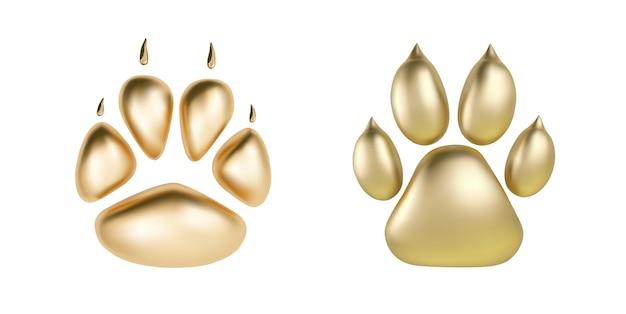 Вектор золотой отпечаток лапы животного логотипа или значка, изолированных на белом фоне Premium векторы