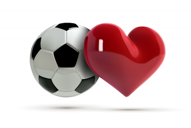 Футбол или футбольный мяч и красное сердце. Premium векторы