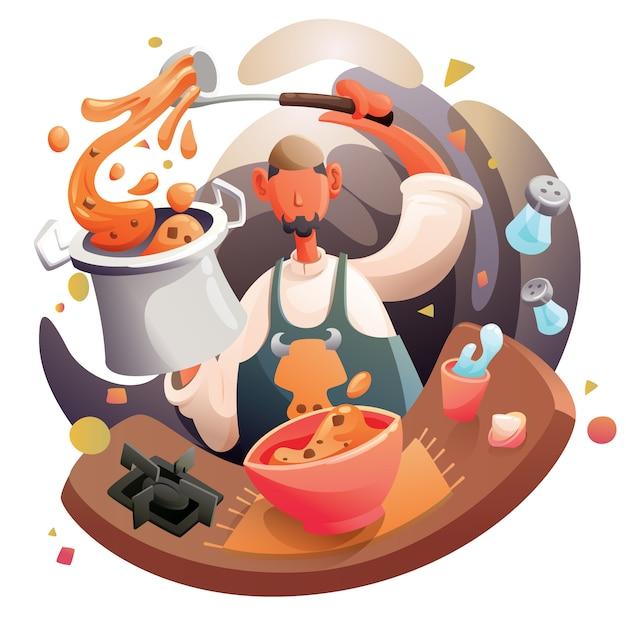 アラビア料理を調理するイスラム教徒のシェフ Premiumベクター