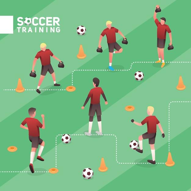 サッカー男赤チームトレーニング等尺性ベクトルイラストセット Premiumベクター