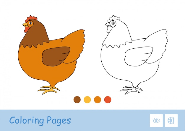 Цветной шаблон и простое бесцветное толстое контурное изображение стоящей курицы для самых маленьких раскрасок. домашние животные на ферме, птичий двор и в сельской местности. веселье и обучение для детей. Premium векторы