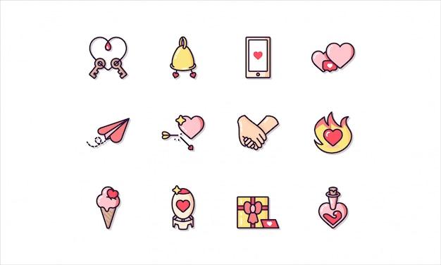 Линейный набор иконок, связанных с днем святого валентина Premium векторы