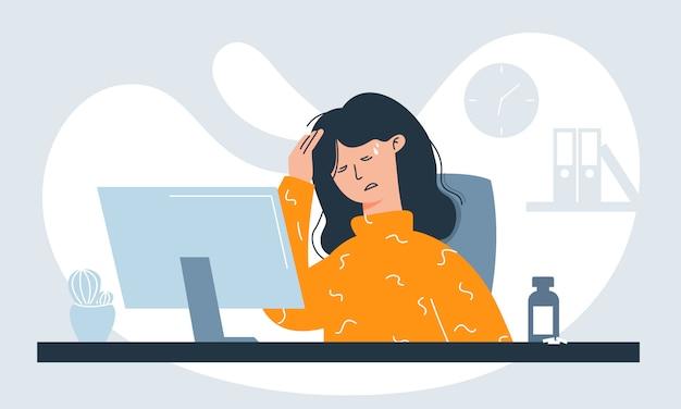 Работница, страдающая от симптомов гриппа, таких как лихорадка, головная боль и боль в горле на рабочем месте из-за инфекции. Premium векторы