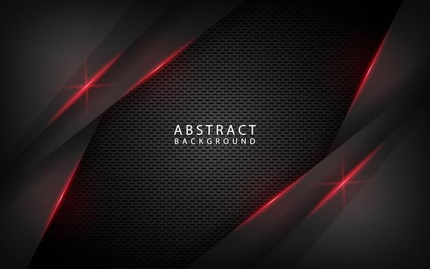 赤いメタリック効果と抽象的な黒技術の背景 Premiumベクター