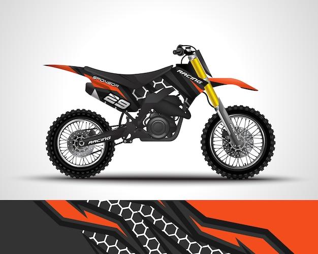 Мотокросс оберточная наклейка и виниловая наклейка иллюстрация Premium векторы