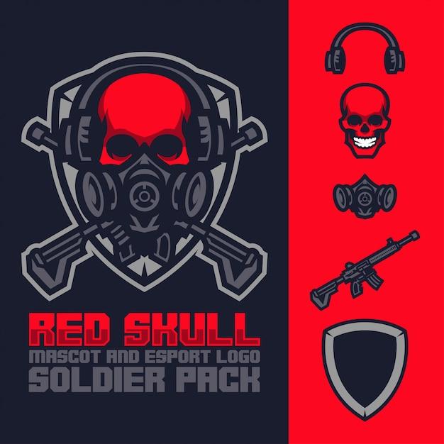 Красный талисман черепа и набор логотипов киберспорта Premium векторы