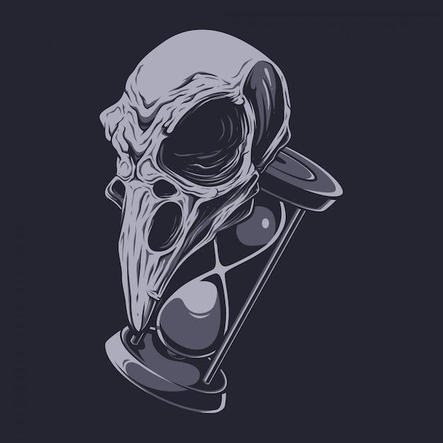 カラスの頭蓋骨と砂時計の図 Premiumベクター
