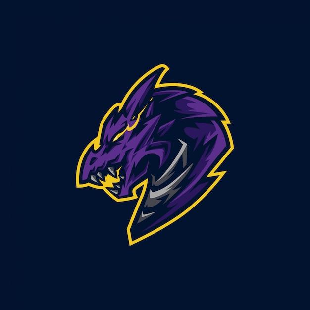 ドラゴンヘッドのマスコットのロゴとゲームのロゴ Premiumベクター