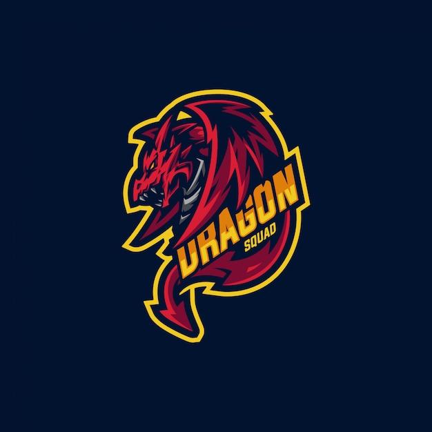 ドラゴンスクワッドのマスコットのロゴとゲームのロゴ Premiumベクター