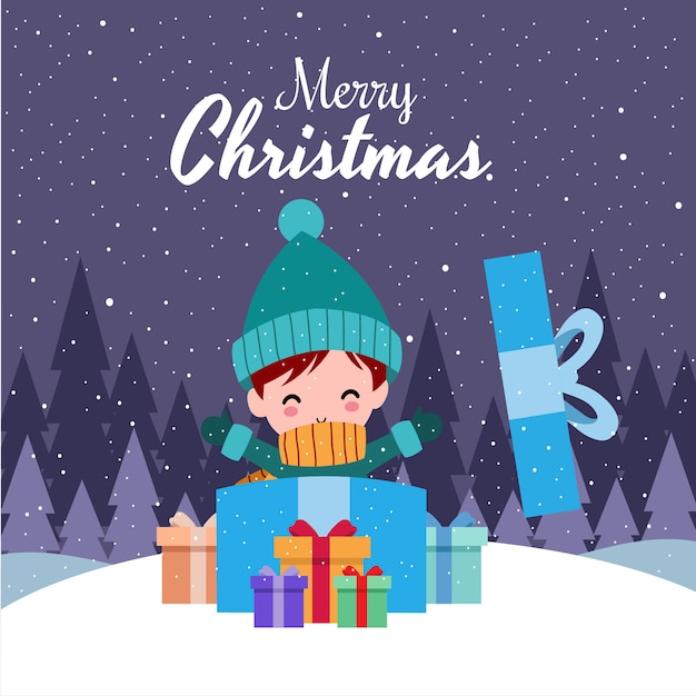 冬の衣装を着てかわいいかわいい手描き男の子とメリークリスマス Premiumベクター