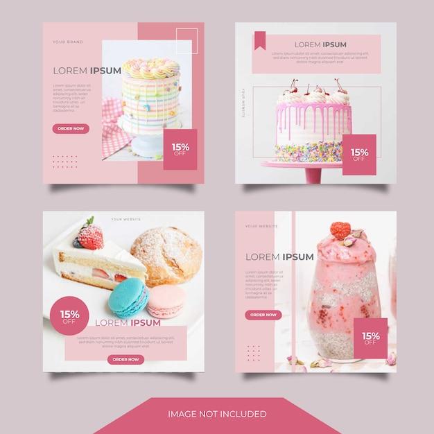 食品料理ソーシャルメディア広告バナー投稿テンプレートコレクション Premiumベクター