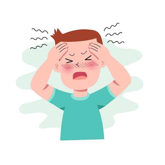 Мальчики или человек или люди, имеющие головную боль. мигрень. стресс. депрессия. разочарование и выражение гнева. концепция болезни. изолированные. иллюстрация в плоском мультяшном стиле. здоровье и медицина. Premium векторы