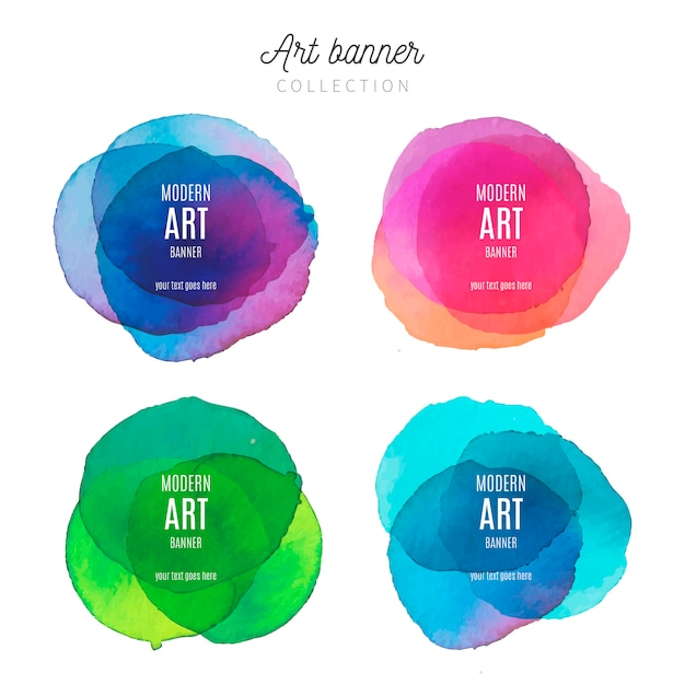 水彩画の飛散とアートバナーコレクション 無料ベクター