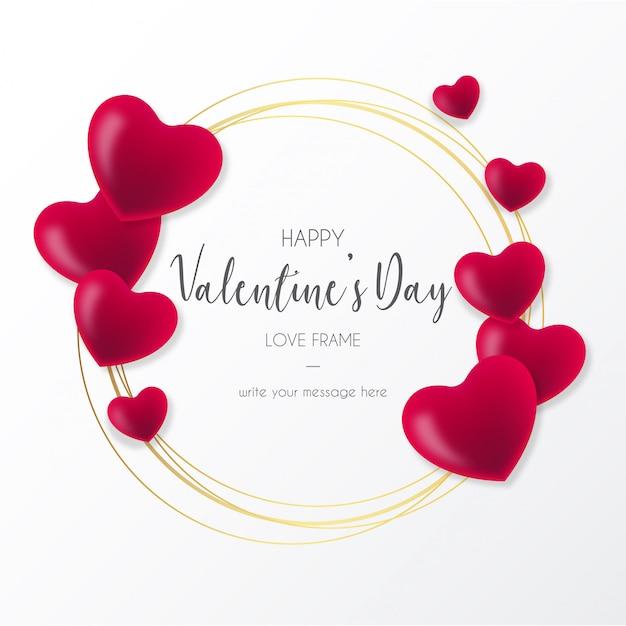 バレンタインデーのための心を持つ素敵なフレーム 無料ベクター