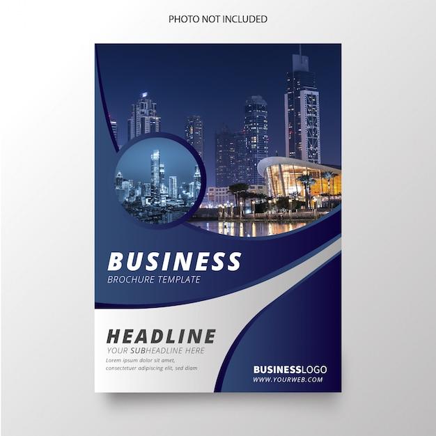 Современная голубая бизнес брошюра Бесплатные векторы