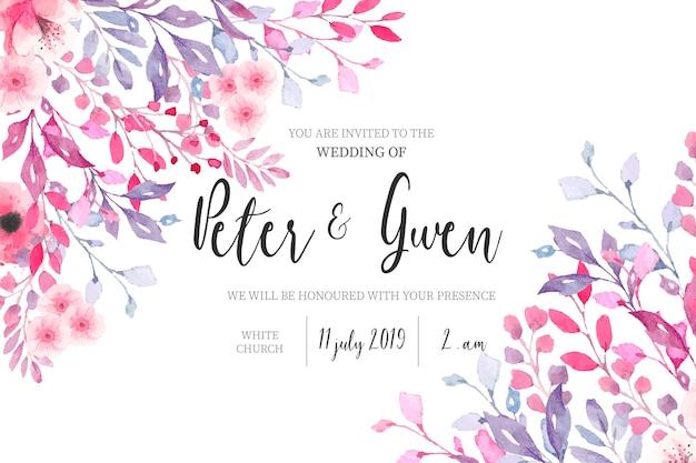 花のボーダーと水彩の結婚式の招待状 無料ベクター
