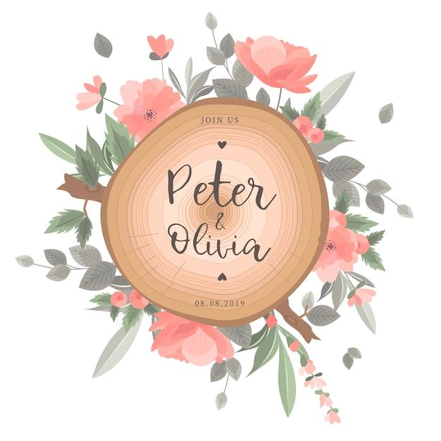 美しい花の結婚式のカード 無料ベクター