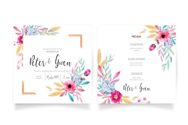 花の結婚式の招待状&メニューテンプレート 無料ベクター