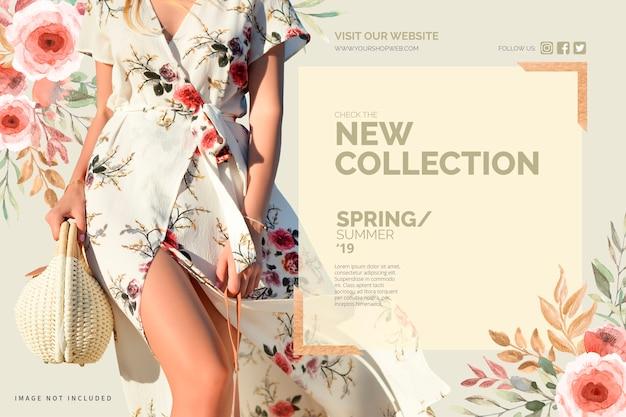 花の新しいコレクションバナーのテンプレート 無料ベクター
