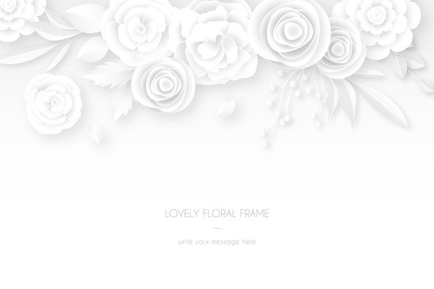 白い花飾り付きのエレガントな白いカード 無料ベクター