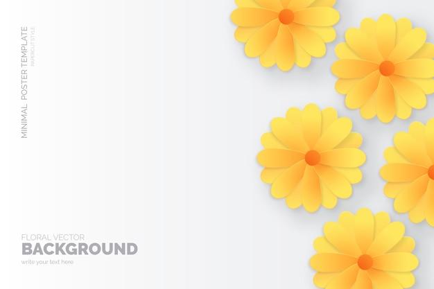 ペーパーカットとミニマリストの花の背景 無料ベクター