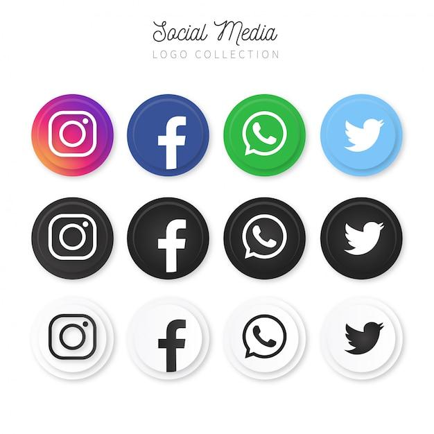 Современная коллекция логотипов в социальных сетях Бесплатные векторы
