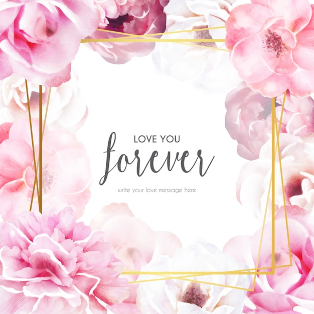 愛のメッセージとロマンチックな花のフレーム 無料ベクター