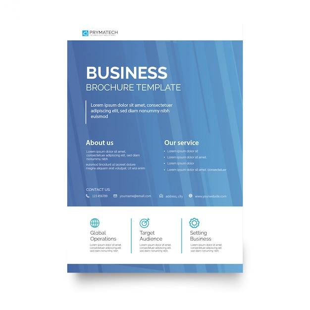 モダンなブルーのビジネスパンフレットのテンプレート 無料ベクター