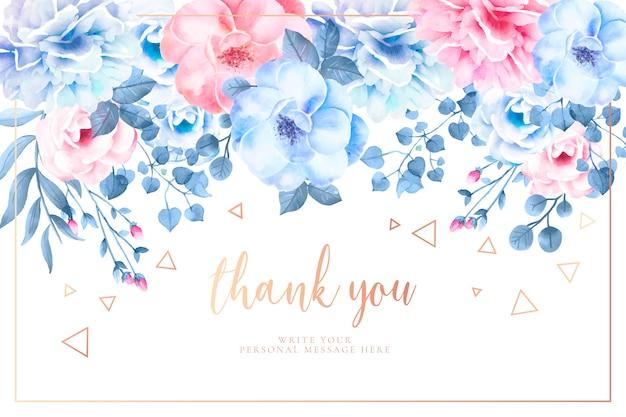水彩画の花と美しいありがとうカード 無料ベクター