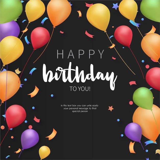 カラフルな誕生日グリーティングカードテンプレート 無料ベクター