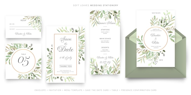 柔らかい葉の結婚式の文房具 無料ベクター