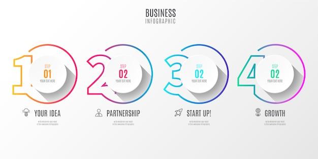 カラフルなステップビジネスインフォグラフィック番号 無料ベクター