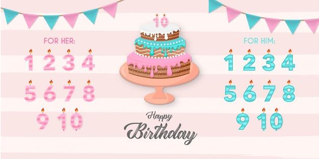 誕生日の要素を持つ美しいケーキ 無料ベクター