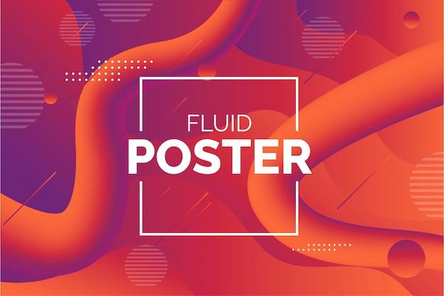 Современный жидкий плакат с абстрактными формами Бесплатные векторы