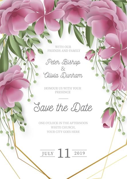 リアルな花を持つモダンな結婚式の招待状 無料ベクター
