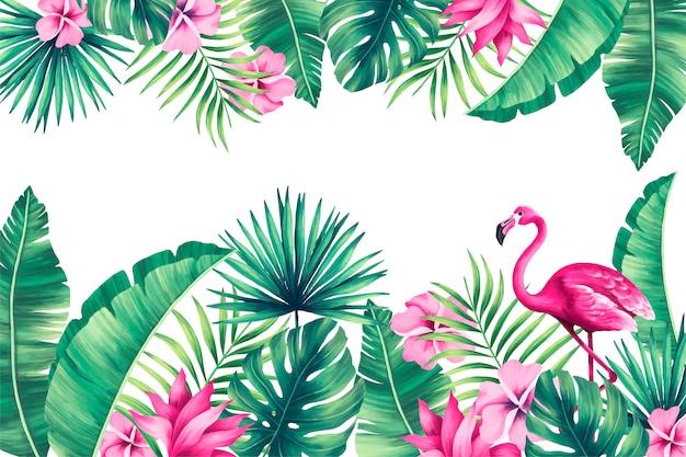 Тропический фон с экзотической природой Бесплатные векторы