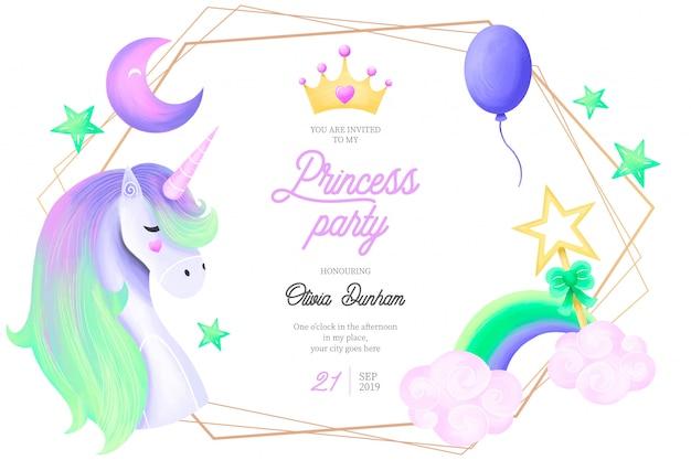 Шаблон приглашения для милой принцессы Бесплатные векторы