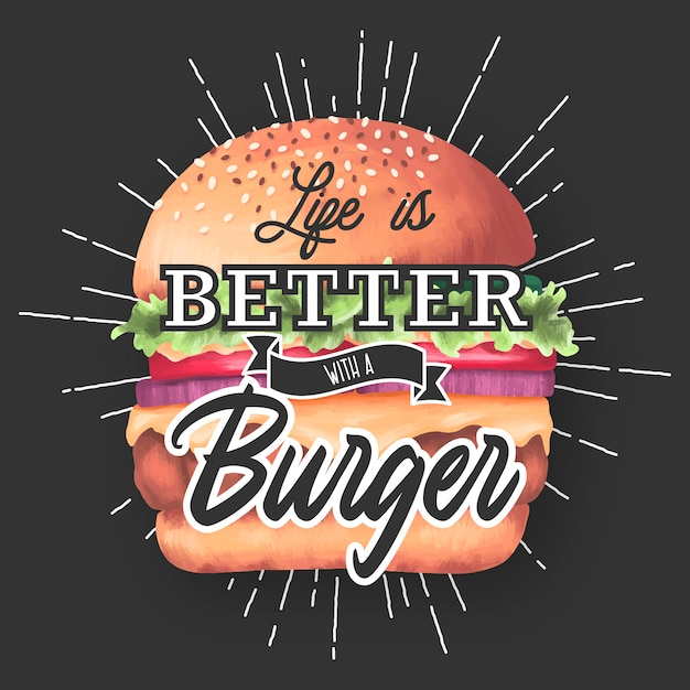 Жизнь лучше с гамбургером. надпись цитата Бесплатные векторы