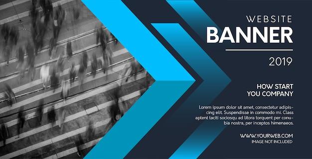 青い図形を持つ専門的なウェブサイトのバナー 無料ベクター